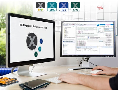 Embedded developers experience easy-to-use MCUXpresso software and tools, including IDE, Config tools, and SDK with integrated drivers, stacks, and middleware.
