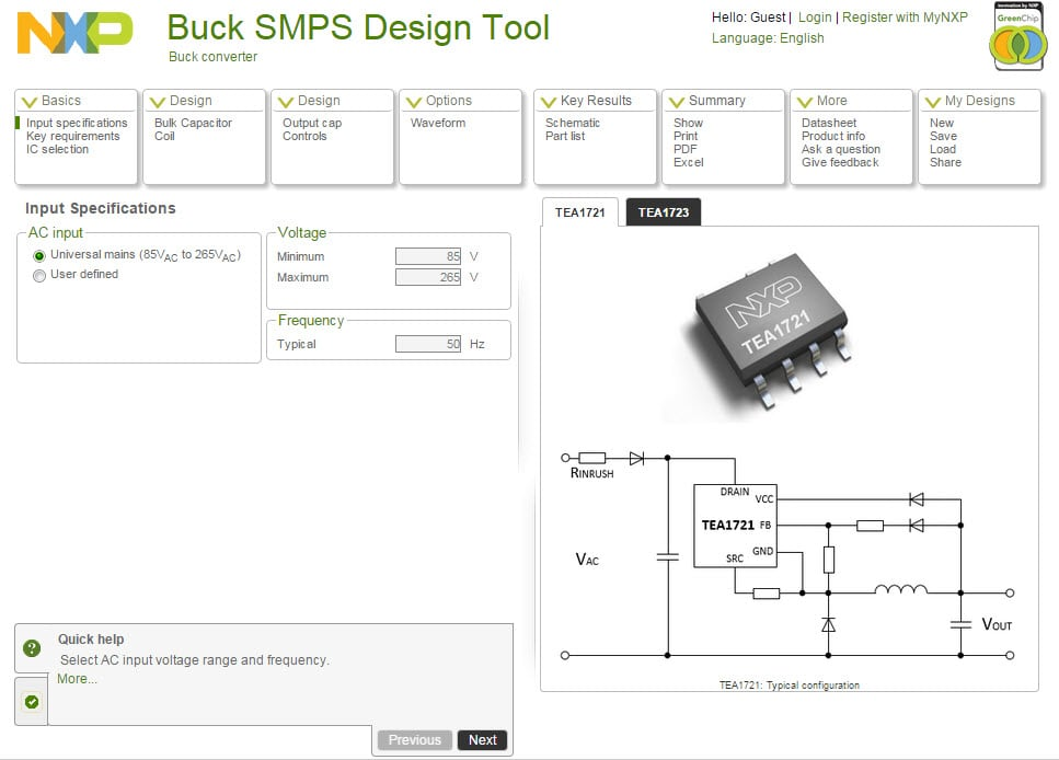 Buck SMPS Design Tool Image
