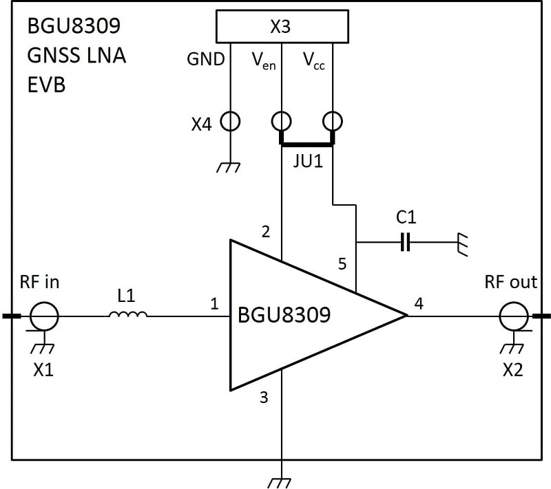 BGU8309 GNSS LNA evaluation board diagram