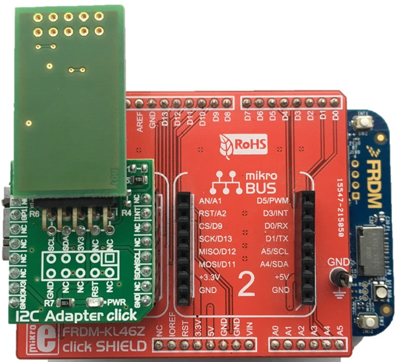 HomeKit Software Development with NXP Freedom Boards (with KL46Z click SHIELD and I<sup>2</sup>C Adaptor click providing 10-pin I<sup>2</sup>C connection to the Arduino<sup>®</sup>/FRDM connectors)