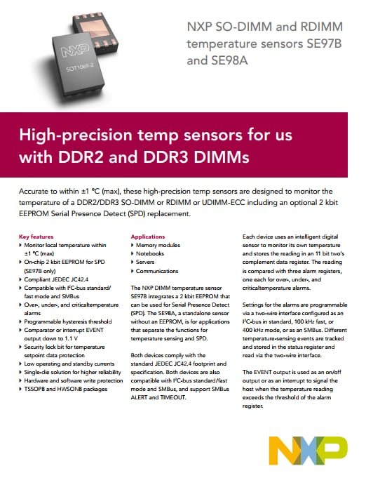 High-precision temp sensors for us with DDR2 and DDR3 DIMMs