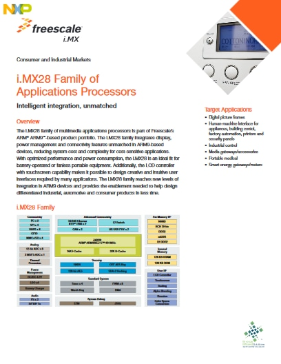 The i.MX28 family of multimedia applications processors is part of our Arm9-based product portfolio