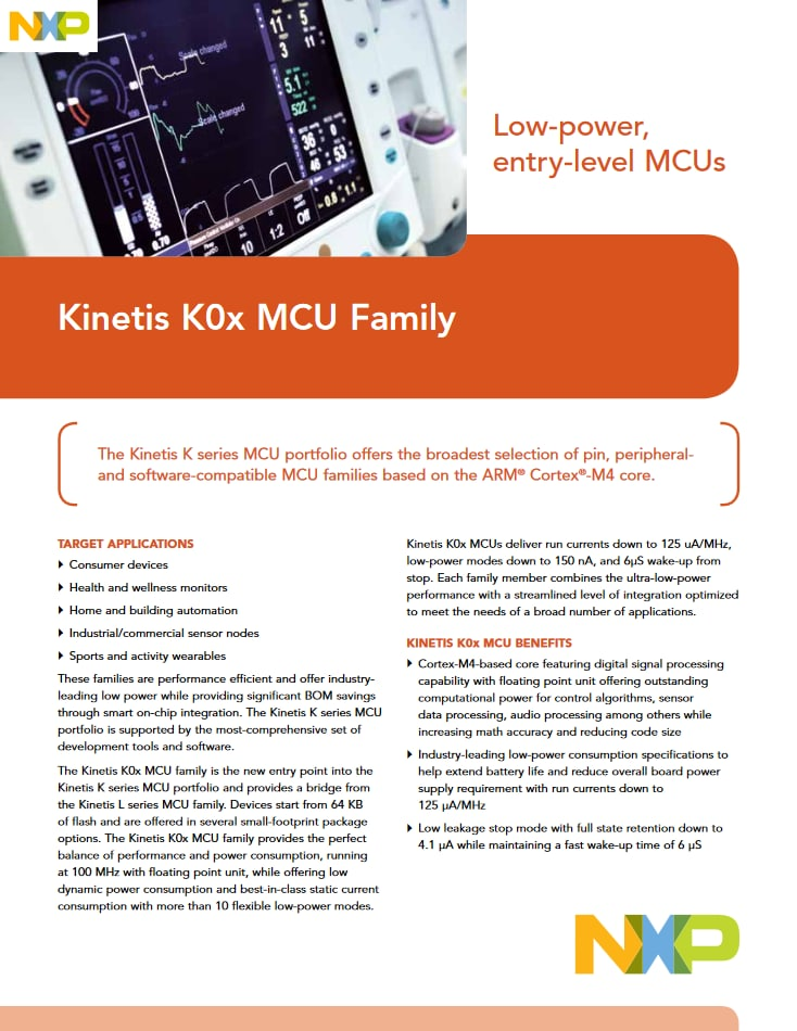 kinetis k0x entry level microcontrollers mcus based on arm cortex