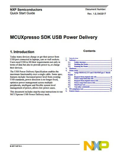 MCUXpresso SDK USB Power Delivery Quick Start Guide