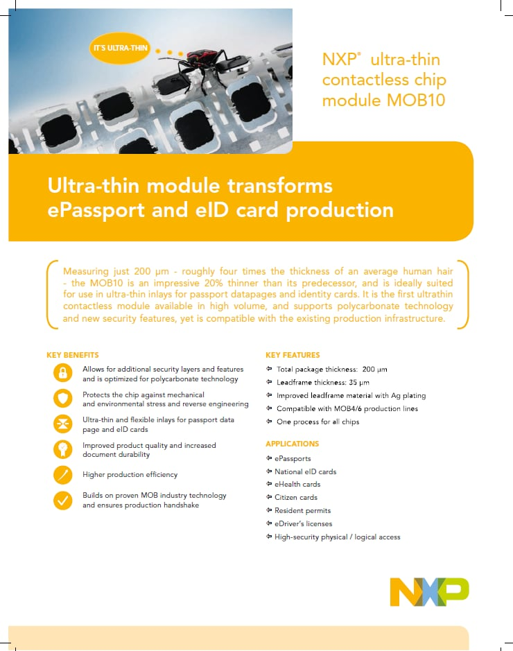 Ultra-thin contactless chip module MOB10