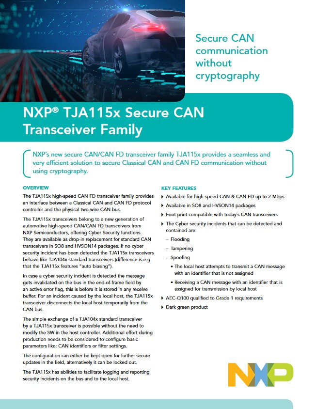 NXP TJA115x Secure Can Transceiver Family