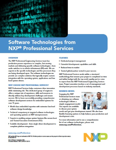 Software Technologies from NXP Professional Services