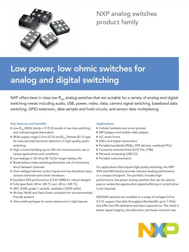 NXP analog switches product selector Link