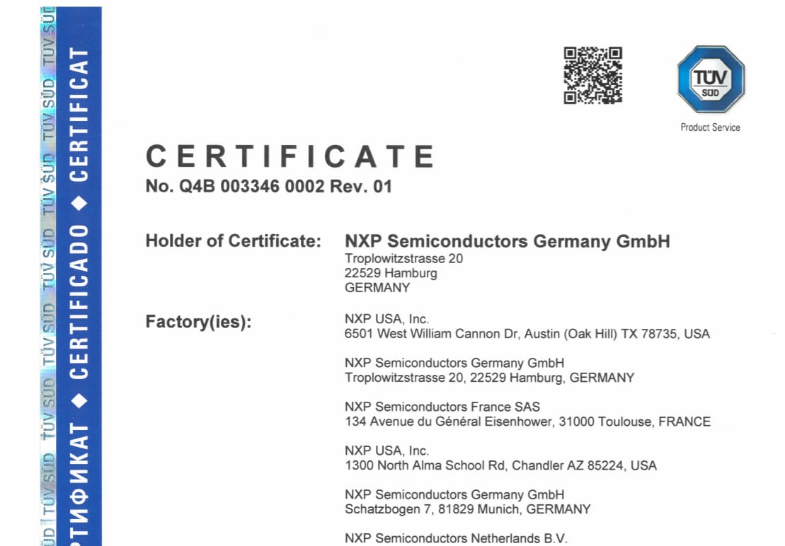 Certified by TÜV