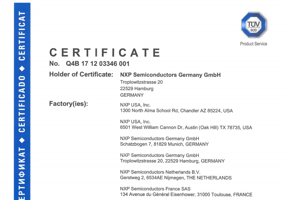 Certified by TÜV- SUD for ISO 26262