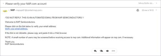 Figure 16. NXP Confirmation Email