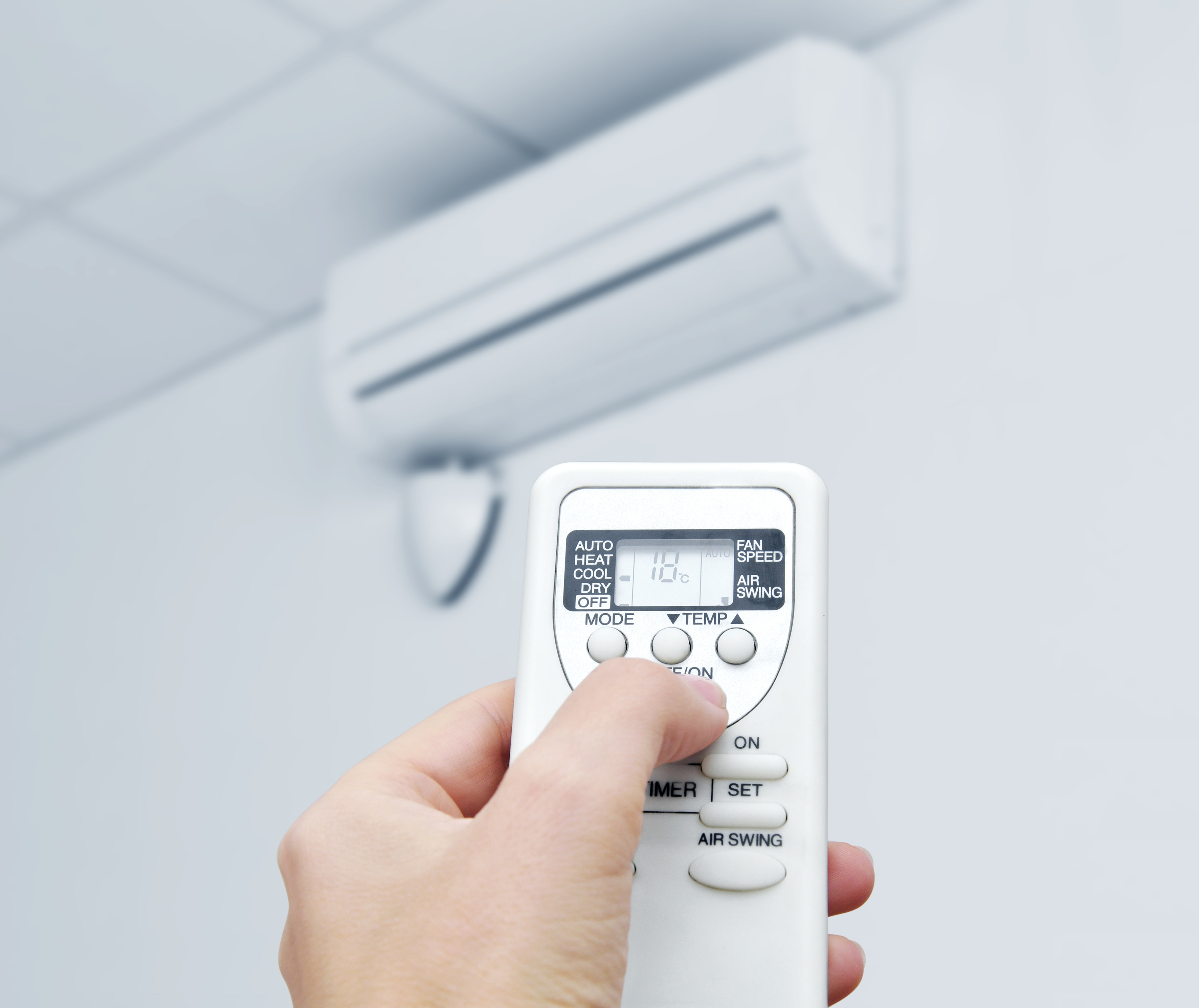 Air conditioning/heat with a remote control