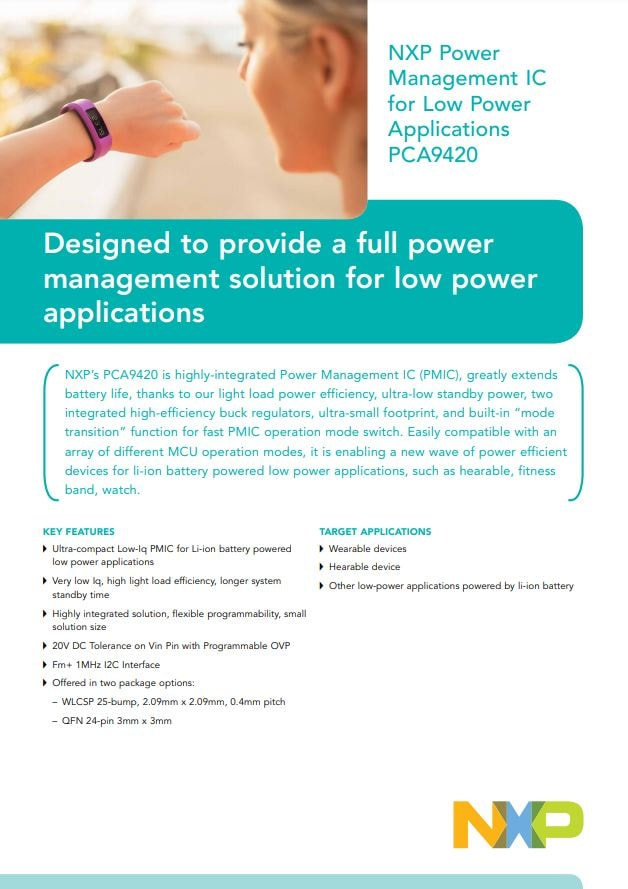NXP Power Management IC for Low-Power Applications PCA9420 Link
