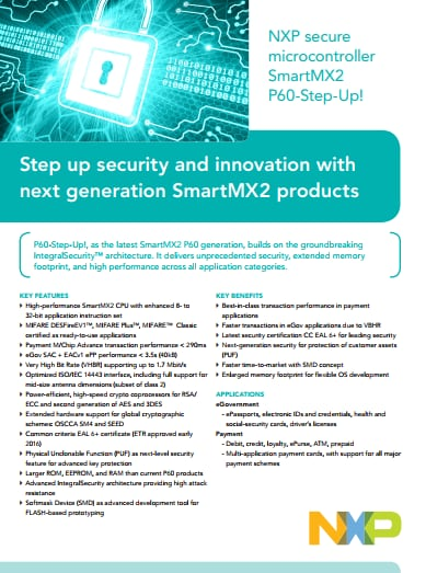 Secure microcontroller SmartMX2 P60-Step-Up!