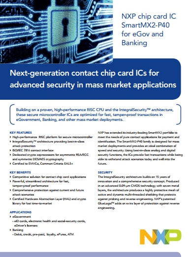 NXP chip card IC SmartMX2-P40 for eGov and Banking