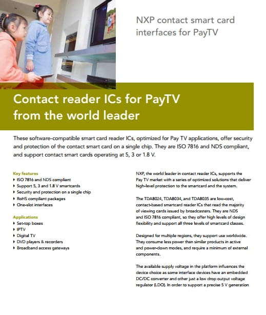 NXP contact smart card interfaces for PayTV