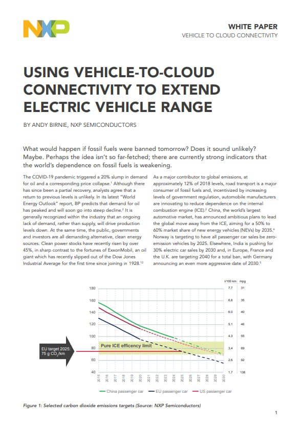 Using Vehicle-To-Cloud Connectivity to Extend Electric Vehicle Range Image