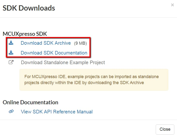 9. Download the SDK Archive and SDK Documentation pop-up