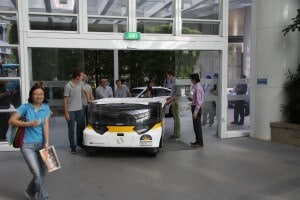 Driving Stella in entrance hall NXP's Singapore office